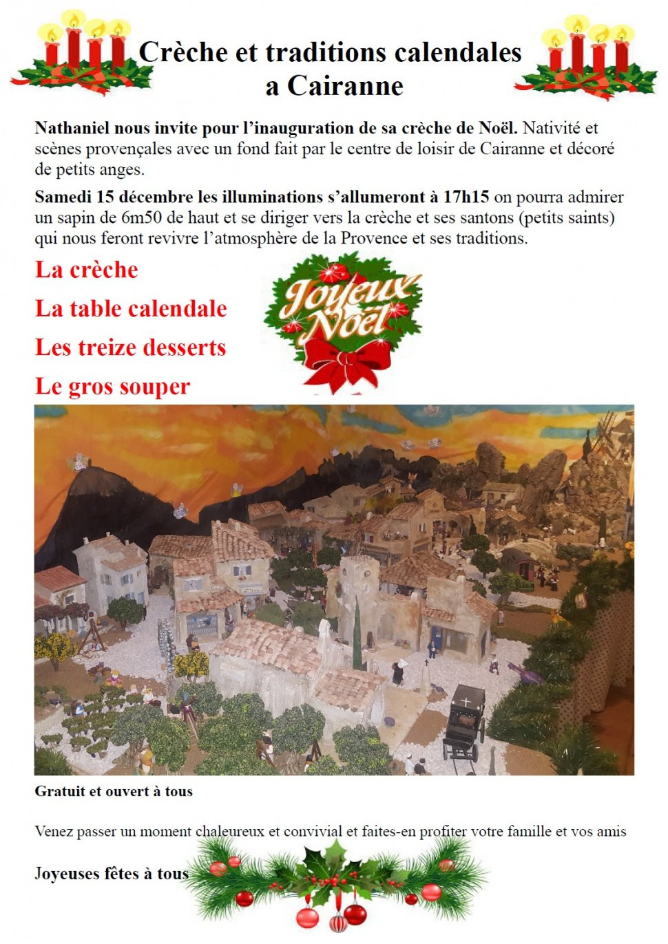 Traditions calendales à Cairanne